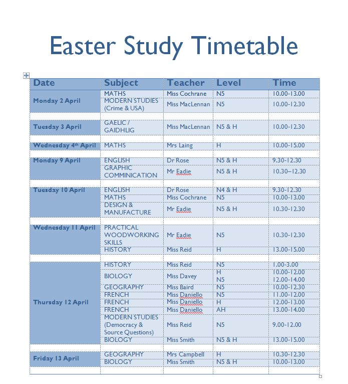 Updated Easter Study Timetable  Inverness Royal Academy